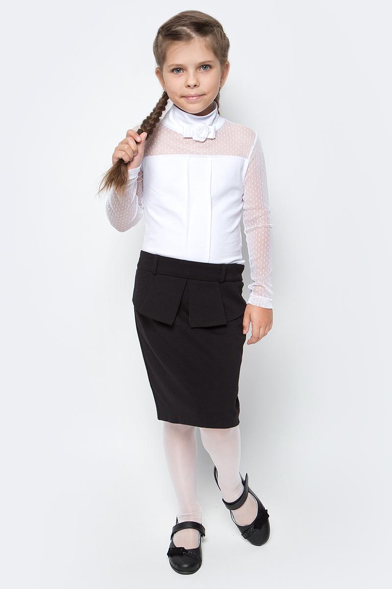 Блузка для девочки Nota Bene, цвет: белый. CJR27049B01. Размер 152CJR27049A01/CJR27049B01Блузка для девочки Nota Bene выполнена из хлопкового трикотажа в сочетании с гипюром. Модель с длинными рукавами и воротником-стойкой.