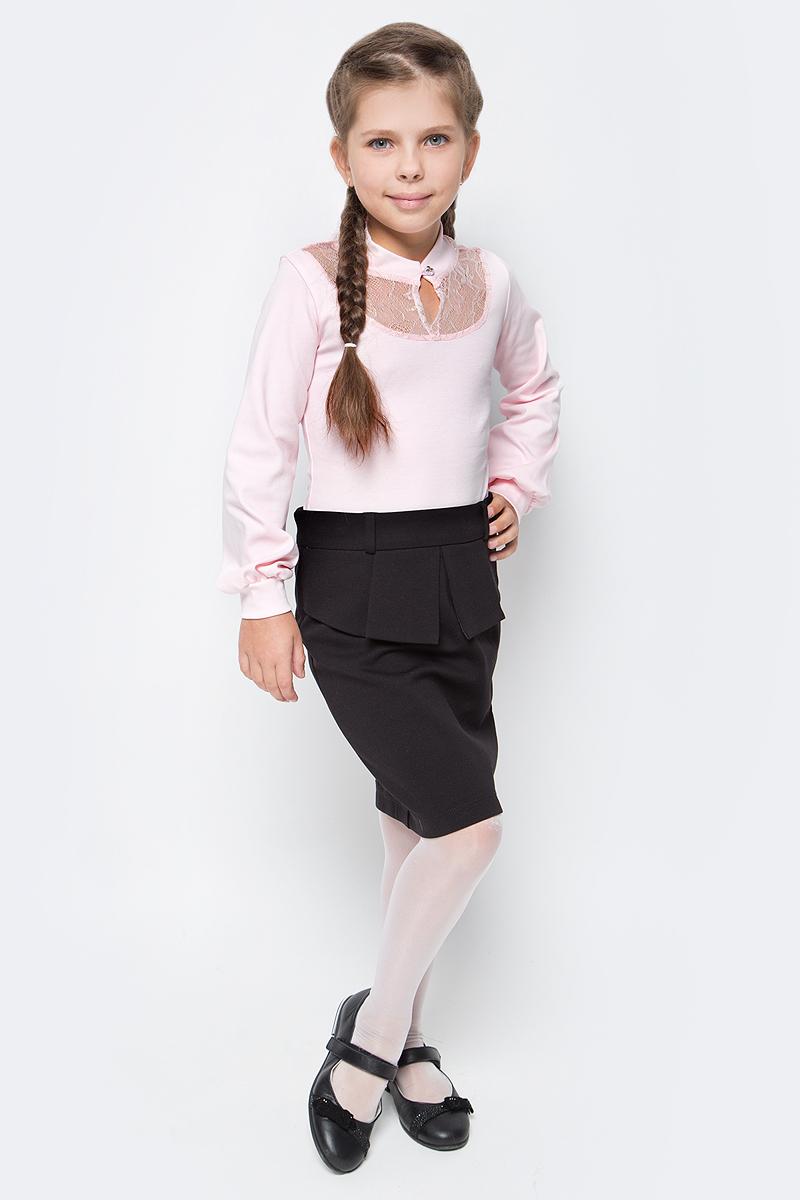 Блузка для девочки Nota Bene, цвет: розовый. CJR270463A05. Размер 128CJR270463A05Блузка для девочки Nota Bene выполнена из хлопкового трикотажа с кружевной отделкой. Модель с длинными рукавами застегивается на пуговицу.