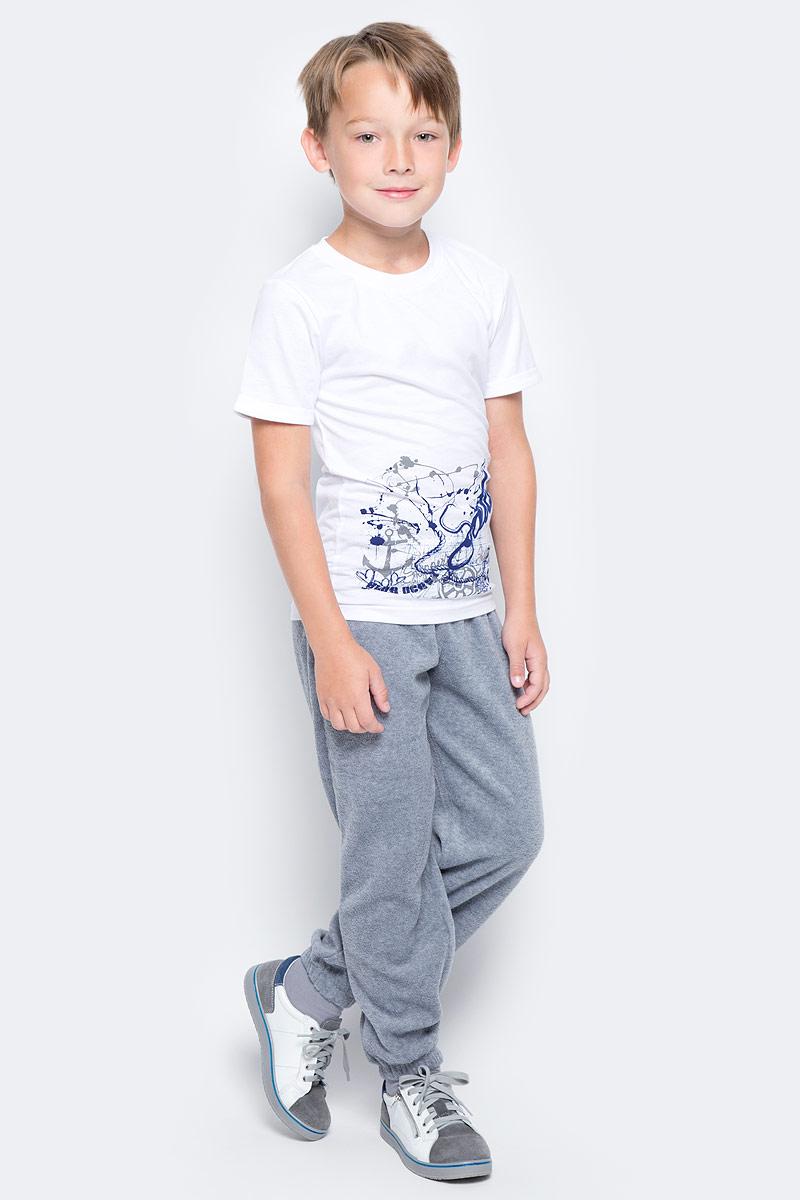 Футболка для мальчика LeadGen, цвет: белый. B213021314-171. Размер 110B213021314-171Футболка для мальчика LeadGen выполнена из натурального хлопкового трикотажа. Модель с короткими рукавами и круглым вырезом горловины спереди оформлена принтом.