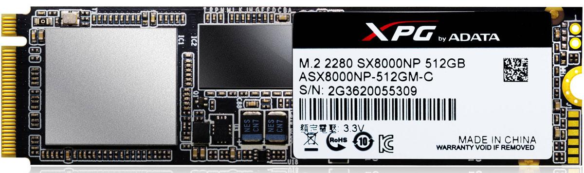 ADATA XPG SX8000 512GB SSD-накопитель (ASX8000NP-512GM-C)ASX8000NP-512GM-CSSD-накопитель ADATA XPG SX8000 обеспечивает высокую скорость работы для игровых ноутбуков и топовых ПК. Благодаря использованию супер-быстрого интерфейса PCIe Gen3x4, накопитель SX8000 достигает экстремально высоких скоростей вплоть до 2 500 / 1 100 Мб в секунду (чтение/запись), что фактически превосходит скорость жесткого диска SATA 6Gb/s в несколько раз!Имея спецификацию NVMe 1.2, накопитель SX8000 обеспечивает превосходные характеристики произвольного чтения/записи и возможность одновременного выполнения нескольких задач. Он оснащен флэш-памятью 3D NAND, которая обеспечивает высокую плотность и надежность хранения по сравнению с 2D NAND.Благодаря поддержке технологий SLC-кэширования, кэш-буфера DRAM и кода коррекции ошибок с контролем четности (LDPC ECC), накопитель SX8000 обеспечивает оптимизированную производительность и целостность данных даже в самых требовательных играх, при просмотре изображениях высокой четкости, при разгоне процессора или в других высокотребовательных приложениях.Разработанный для игр, разгона процессора и просмотра изображений высокой четкости, накопитель SX8000 идеально подходит для приложений, работа которых основана на высоких характеристиках хранения данных. Это идеальное решение для высокотехнологичных систем, благодаря супер-быстрому интерфейсу PCIe Gen3x4, обеспечивающему великолепные скорости чтения/записи до 2 500/1 100 Мб в секунду.Накопитель SX8000 соответствует требованиям сертификации NVMe (спецификация на протоколы доступа к твердотельным накопителям, подключенным по шине PCI Express), версия 1.2, и превосходит высокие показатели последовательной передачи данных за счет великолепной избирательной производительности и выполнения одновременно нескольких задач.Все модели накопителей SX8000 оснащены технологией высокого показателя TBW (суммарное число записываемых байтов), которая определяет, сколько раз можно выполнить перезапись всего объема SSD-накопи