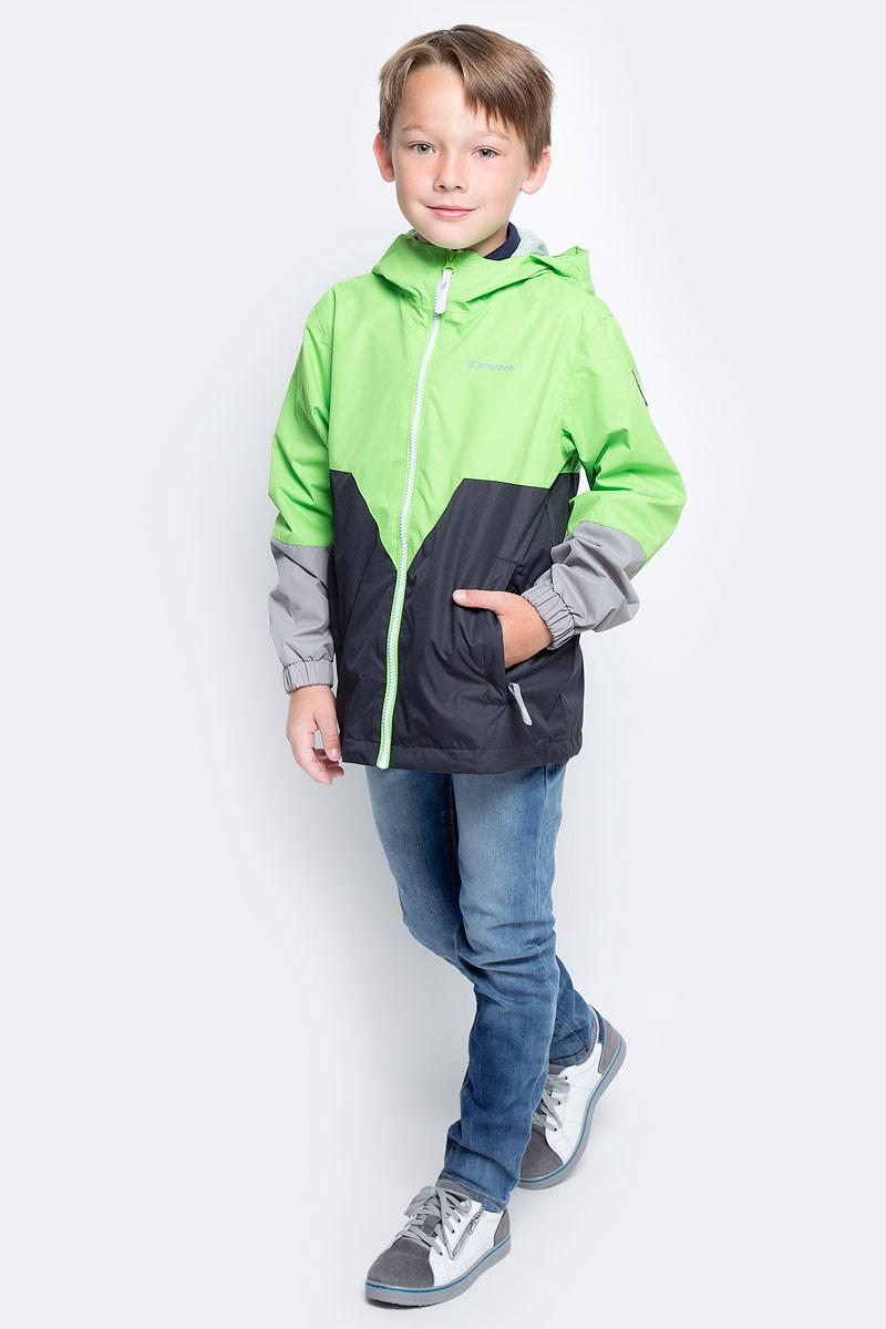 Ветровка для мальчика Icepeak, цвет: зеленый, серый, светло серый. 750007501IVT_543. Размер 128750007501IVT_543Ветровка для мальчика от Icepeak с фиксированным капюшоном, молния закрыта планкой с внутренней стороны, эластичная резинка на рукавах, утяжка в нижней части куртки, светоотражающие элементы, основные швы проклеены.