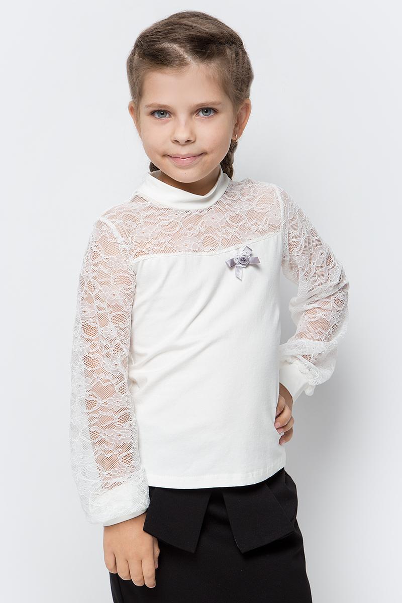 Блузка для девочки Nota Bene, цвет: молочный. CJR270471_17. Размер 146CJR270471_17Блузка для девочки Nota Bene выполнена из хлопкового трикотажа в сочетании с гипюром. Модель с длинными рукавами и воротником-стойкой.