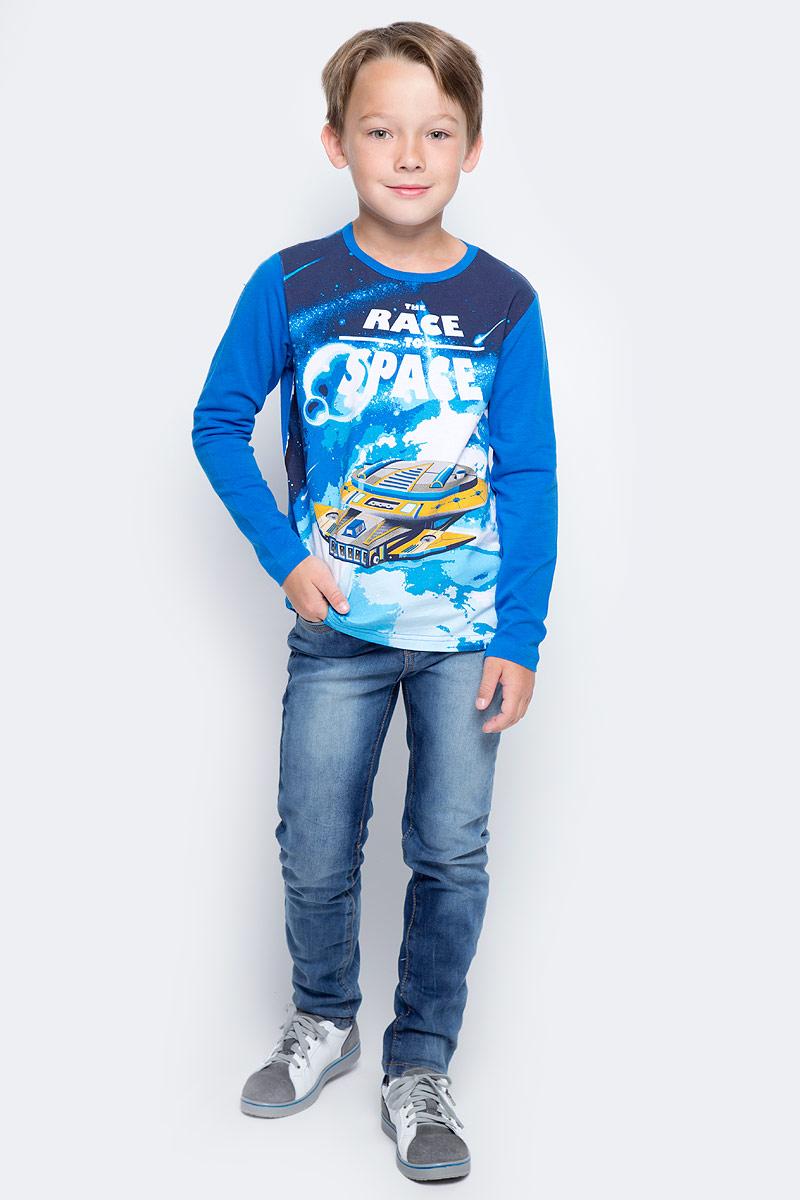 Футболка с длинным рукавом для мальчика PlayToday, цвет: синий. 371170. Размер 122371170Футболка PlayToday выполнена из эластичного хлопка. Модель с длинными рукавами и круглым вырезом горловины оформлена принтом.