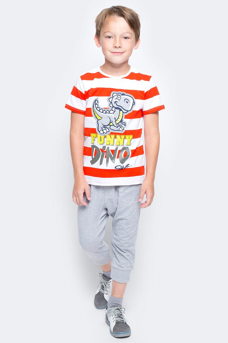 Комплект для мальчика PlayToday: футболка, бриджи, цвет: белый, красный, серый. 175002. Размер 128175002Комплект из футболки и бридж прекрасно подойдет для домашнего использования. Может быть и домашней одеждой, и уютной пижамой. Мягкий, приятный к телу, материал не сковывает движений. Яркий стильный принт является достойным украшением данного изделия. Штанины бридж на мягких резинках.