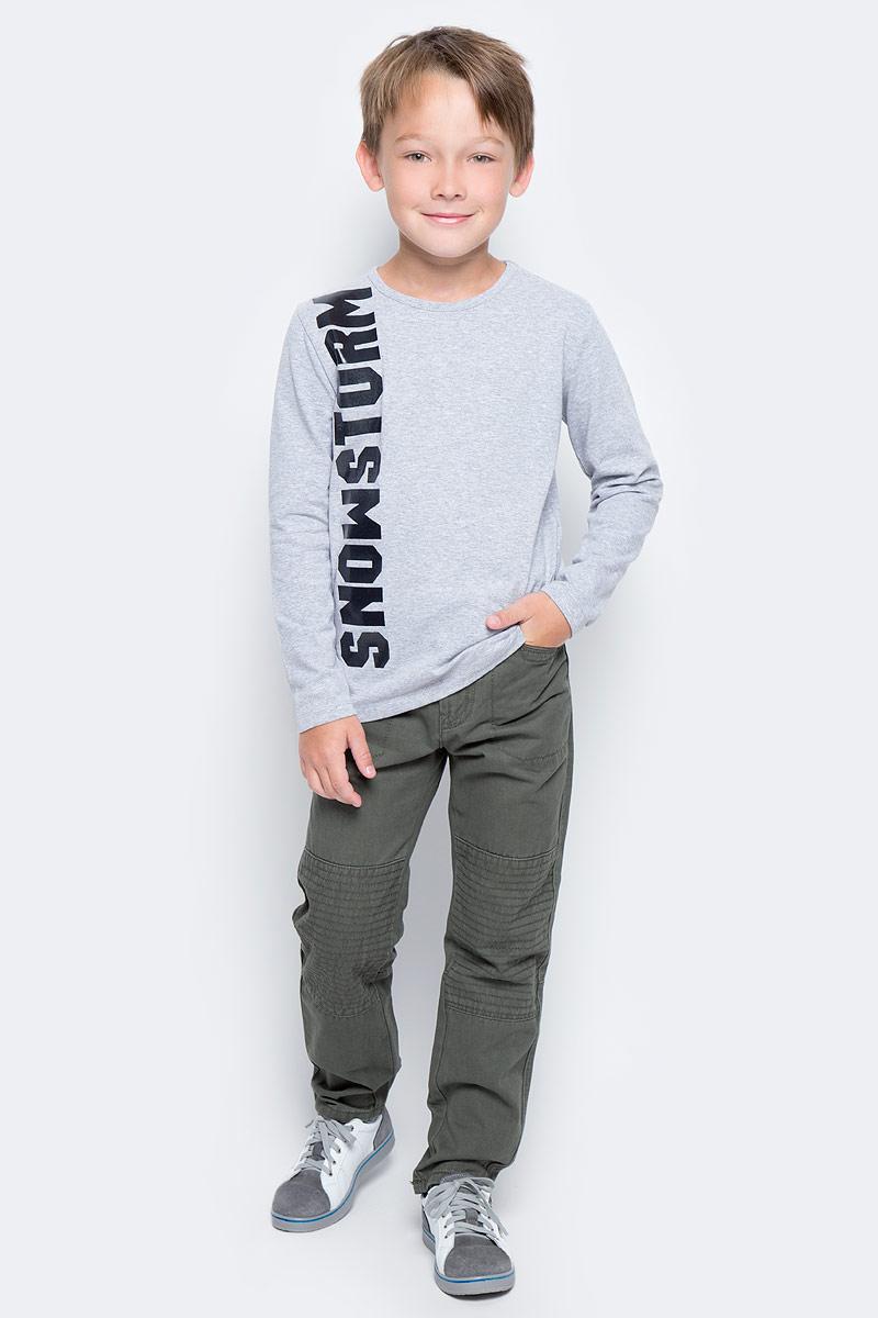 Футболка с длинным рукавом для мальчика PlayToday, цвет: серый. 371172. Размер 128371172Футболка PlayToday выполнена из эластичного хлопка. Модель с длинными рукавами и круглым вырезом горловины.