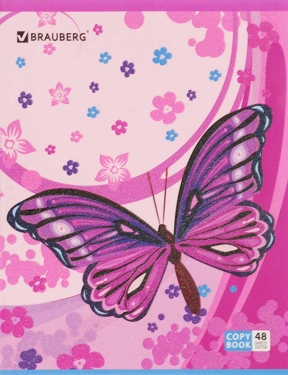 Brauberg Тетрадь Бабочки 48 листов в клетку цвет розовый401837_розовыйТетрадь Brauberg Бабочки подойдет как школьнику, так и студенту. Обложка, выполненная из плотного картона, позволит сохранить тетрадь в аккуратном состоянии на протяжении всего времени использования.Внутренний блок тетради, соединенный металлическими скрепками, состоит из 48 листов белой бумаги. Стандартная линовка в клетку голубого цвета дополнена полями.