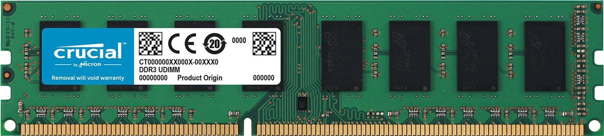 Crucial DDR3L 8Gb 1600 МГц модуль оперативной памяти (CT102464BD160B-761388)CT102464BD160BНебуферезированная память Crucial DDR3L предоставляет качество работы, надежность и производительность, требуемую для современных компьютеров сегодня. Объем модуля памяти в 8 ГБ позволит свободно работать со стандартными, офисными и профессиональными ресурсоемкими программами, а также современными требовательными играми. Работа осуществляется при тактовой частоте 1600 МГц и пропускной способности, достигающей до 12800 Мб/с, что гарантирует качественную синхронизацию и быструю передачу данных, а также возможность выполнения множества действий в единицу времени. Тайминг CL-11 гарантирует быструю работу системы.Как собрать игровой компьютер. Статья OZON Гид