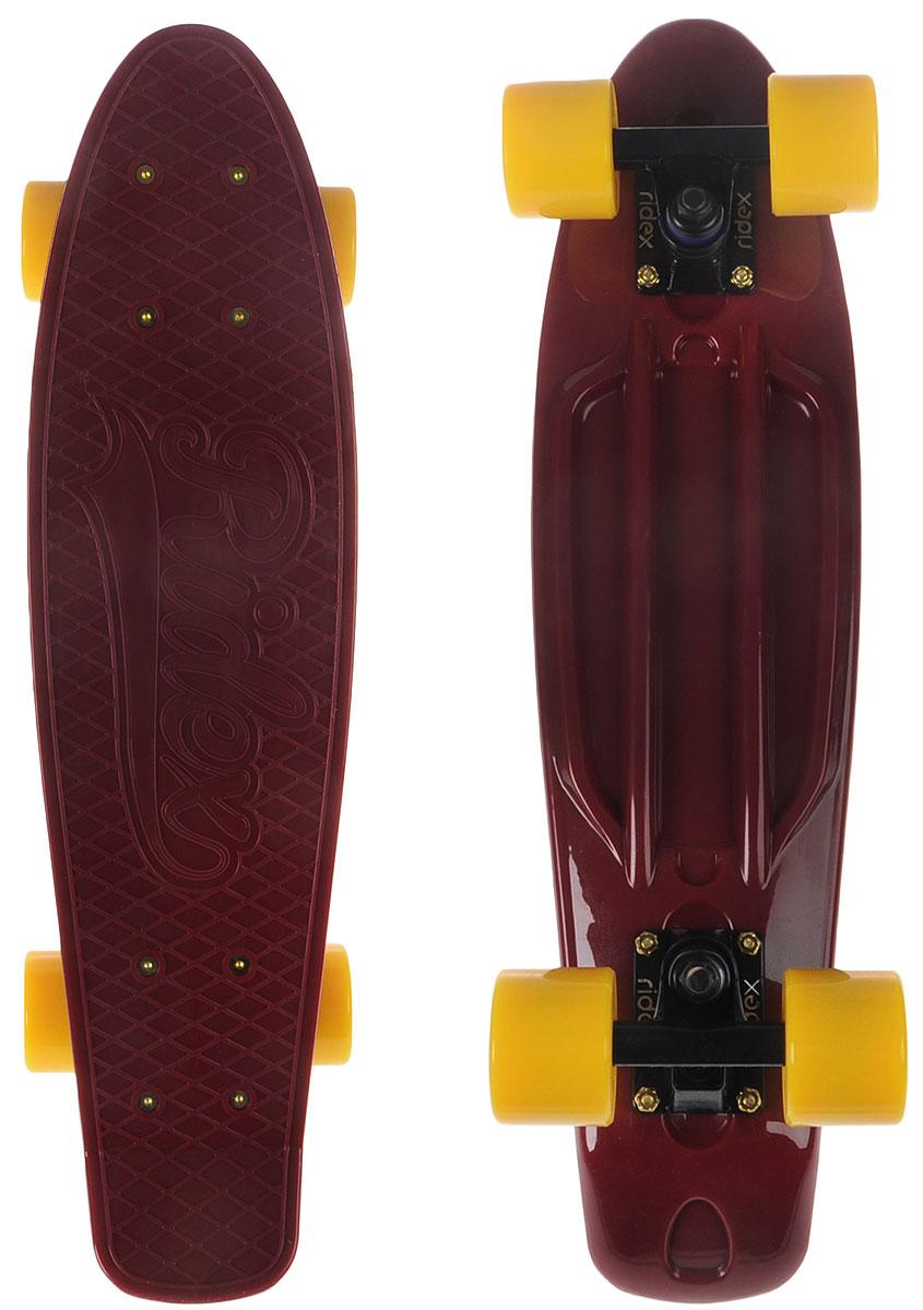 Круизер Ridex Marsala, цвет: бордовый, желтый, дека 56 х 15 смУТ-00009659Круизер Ridex Marsala - это модель для детей и подростков. Стильные трендовые цвета в дизайне - вот что делает эту доску особенной по сравнению с другими моделями круизеров коллекции 2017 года. Эффектное сочетание ярких цветов, продуманное до мелочей, придется по душе как концептуальному моднику, так и дерзкой особе. Классический размер пластиковой деки позволит с комфортом передвигаться по городу. Усиленная алюминиевая подвеска c полиуретановыми бушингами обеспечит маневренное управление круизером. Качественные подшипники ABEC SEVEN Chrome гарантируют быстрый разгон и стабильный накат, а полиуретановые колеса компенсируют неровности различных поверхностей. Подшипники из хромированной стали устойчивы к коррозии.