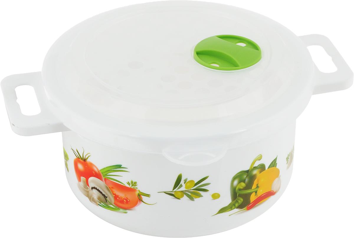 Емкость для холодильника и микроволновой печи Phibo Овощи, 900 млС11727_овощиЕмкость Phibo Овощи изготовлена из высококачественного пластика. Крышка легко и плотно закрывается, оснащена специальным клапаном. Изделие устойчиво к воздействию масел и жиров, легко моется. Емкость имеет две ручки для удобной переноски и оформлено ярким рисунком. Подходит для использования в микроволновых печах до температуры +100°С, выдерживает хранение в морозильной камере до температуры -24°С. Можно мыть в посудомоечной машине.Размер емкости (с учетом ручек): 19 х 15 х 8,5 см.