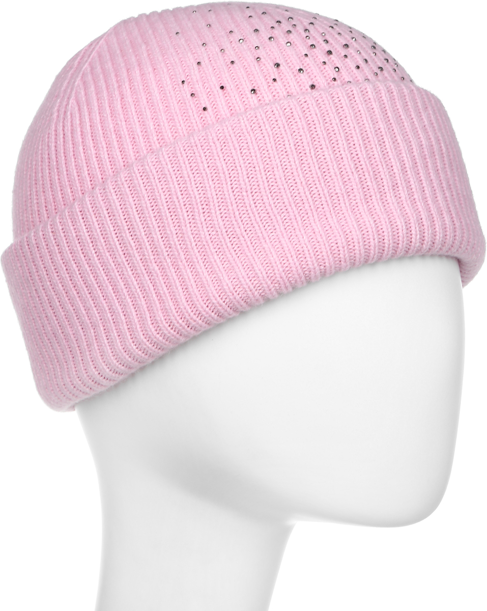 Шапка женская Flioraj, цвет: светло-розовый. 713-М-СТ FJ. Размер 56/58713-М-СТ FJТеплая шерстяная шапка от Flioraj выполнена модной рельефной вязкой. Отлично защитит от холода. Такую шапочку можно носить с любым видом верхней одежды, достаточно только определиться с цветом. Модель дополнена стразами.