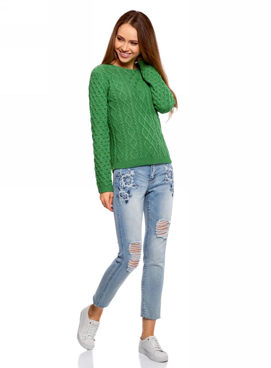 Джемпер женский oodji Ultra, цвет: зеленый. 63805307/47011/6D00N. Размер M (46)63805307/47011/6D00N