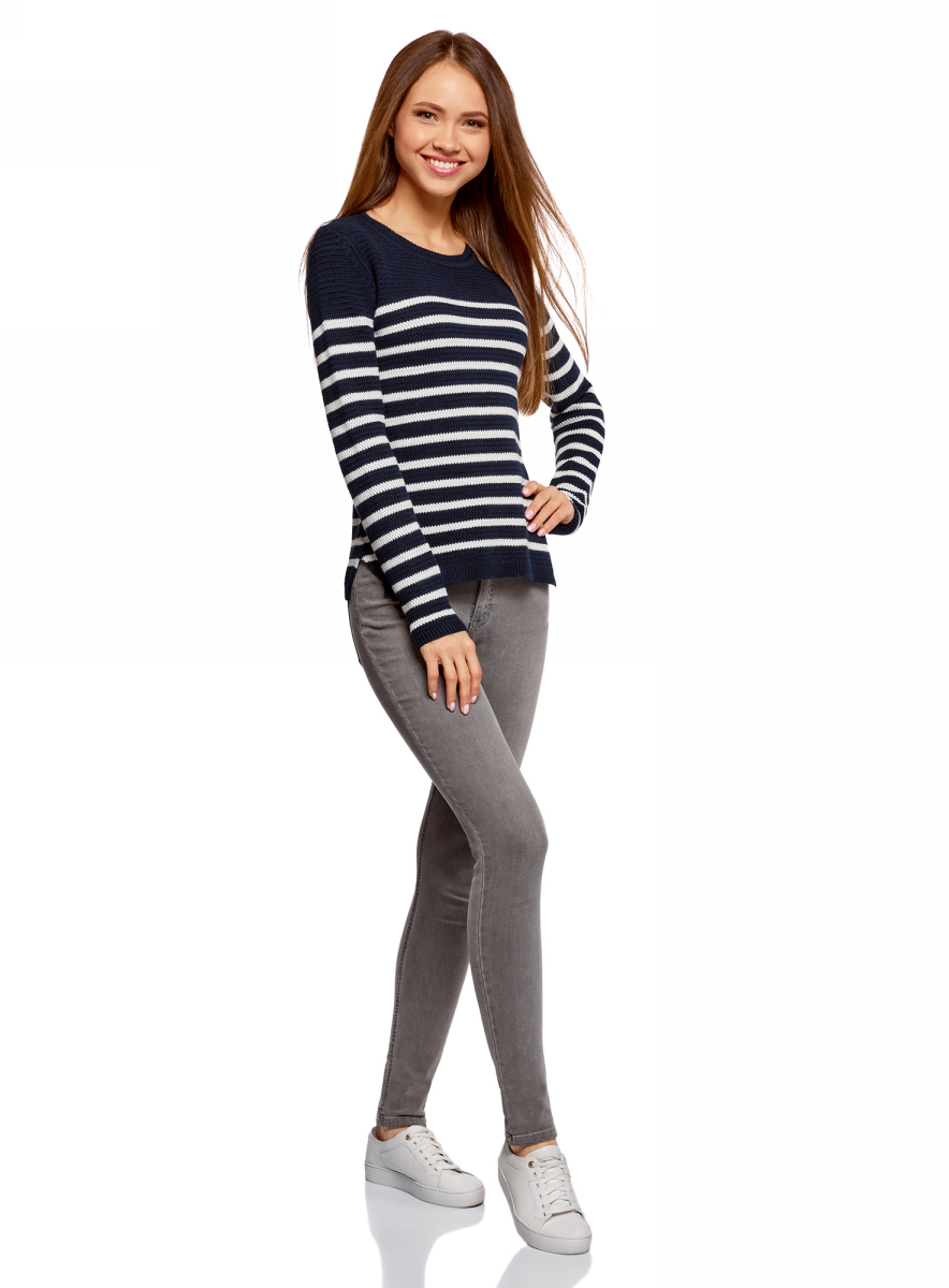 Джемпер женский oodji Ultra, цвет: темно-синий. 63807314/47067/7910S. Размер XL (50)63807314/47067/7910S