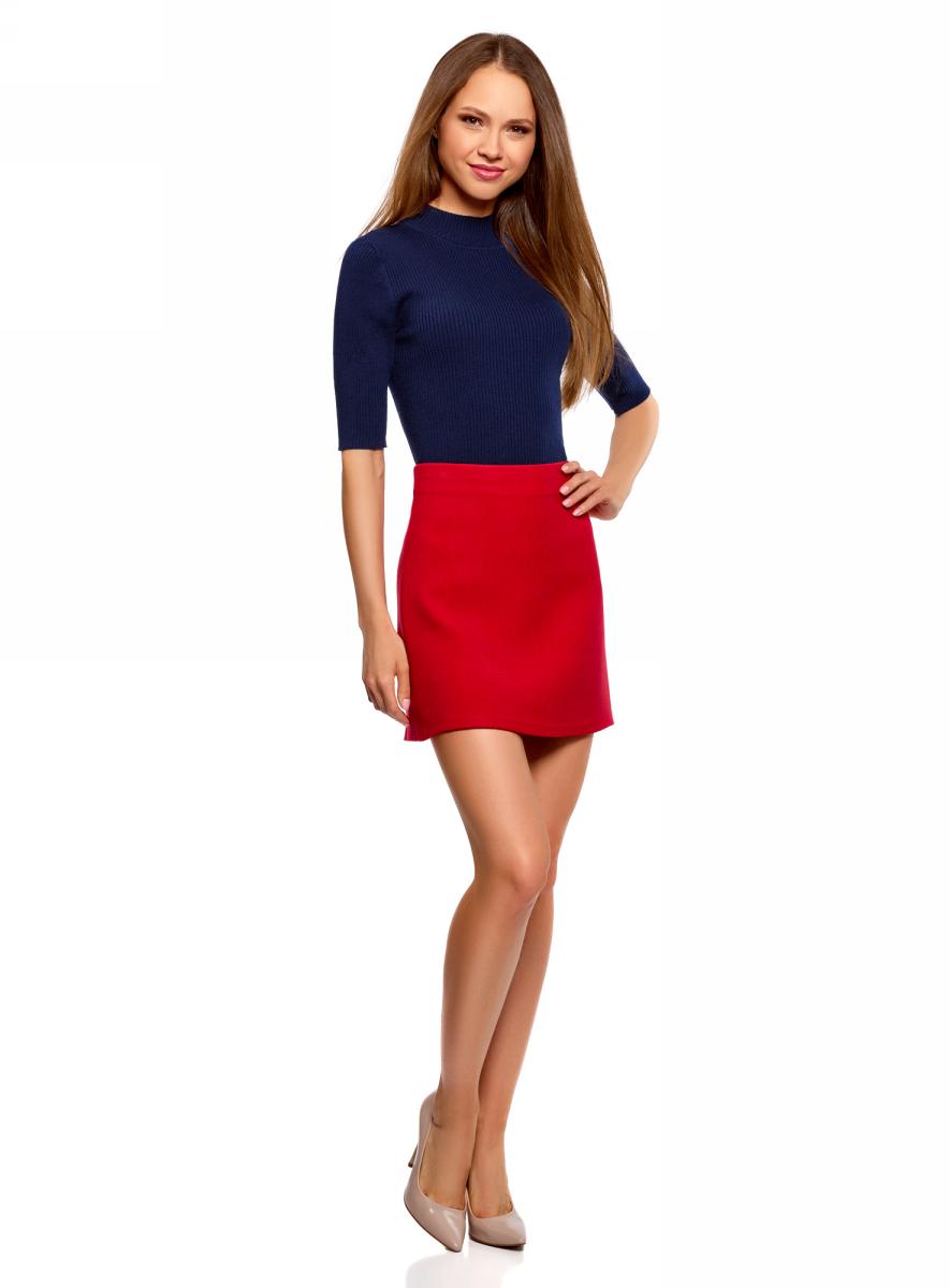 Джемпер женский oodji Ultra, цвет: темно-синий. 63812610/47160/7902N. Размер XL (50)63812610/47160/7902NДжемпер от oodji в рубчик выполнен из пряжи сложного состава. Модель с рукавами до локтя и невысоким воротником-стойкой.