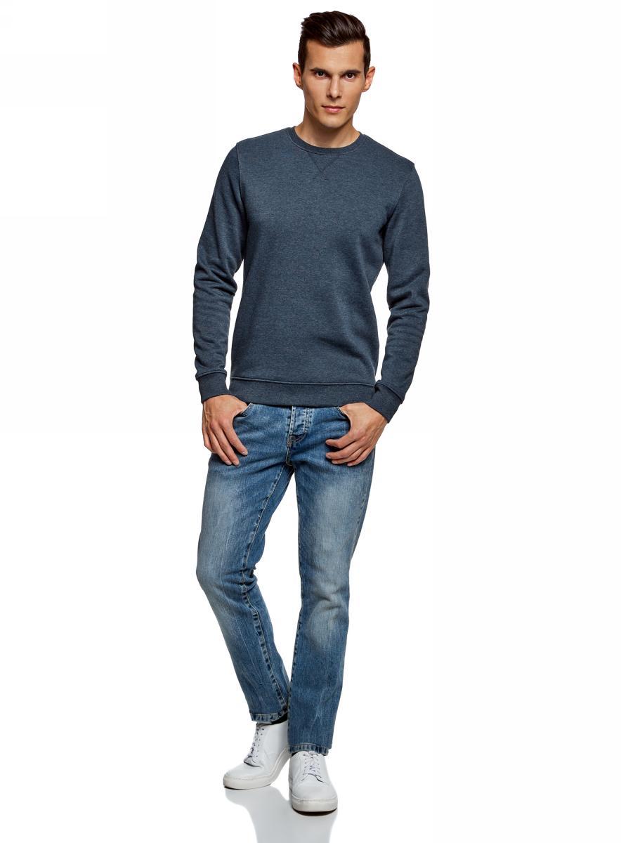 Джемпер мужской oodji Basic, цвет: синий. 5B113001M-1/44396N/7800M. Размер S (46/48)5B113001M-1/44396N/7800M