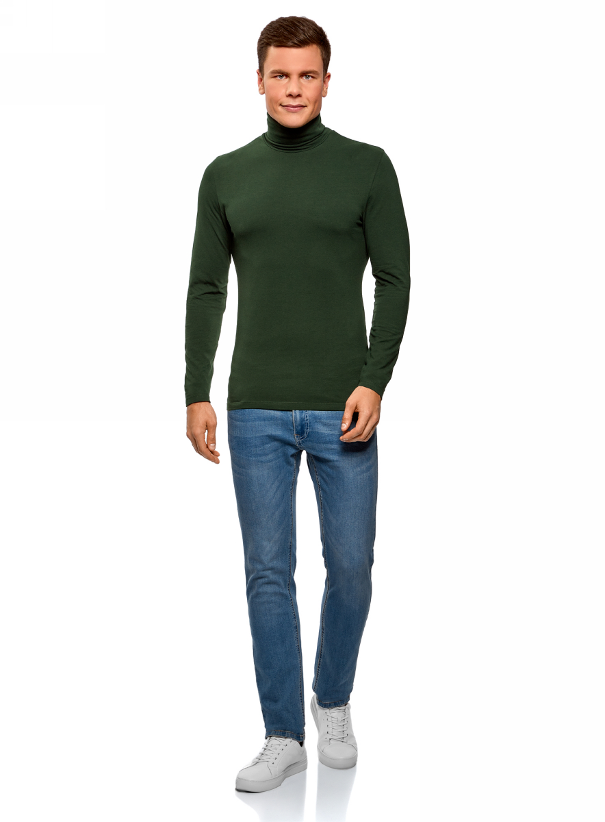 Водолазка мужская oodji Basic, цвет: темно-зеленый. 5B513001M/46737N/6900N. Размер S (46/48) футболка мужская oodji basic цвет темно синий голубой 2 шт 5b612002t2 46737n 1900n размер s 46 48