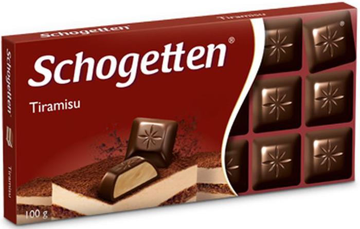 Schogetten Tiramisu темный шоколад с начинкой, 100 г шоколад ritter sport темный с мятной начинкой 100г