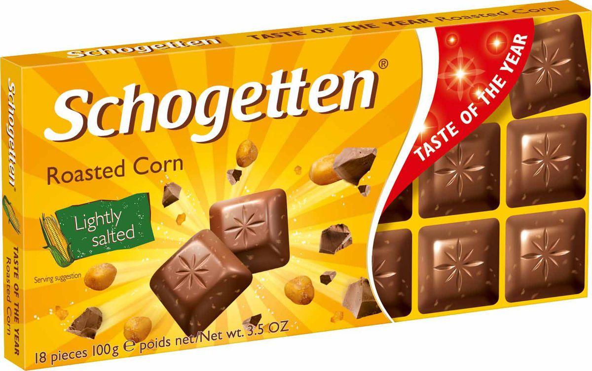 Schogetten Roasted Corn молочный шоколад с обжаренными солеными кукурузными зернами, 100 г