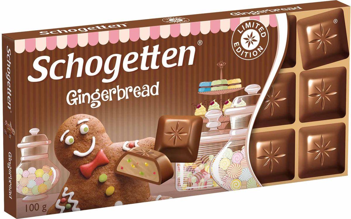 Schogetten Gingerbread альпийский молочный шоколад с кремовой начинкой, 100 г190-02470Шоколад, который не нужно ломать. Оригинальное сочетание молочного шоколада и пряника.