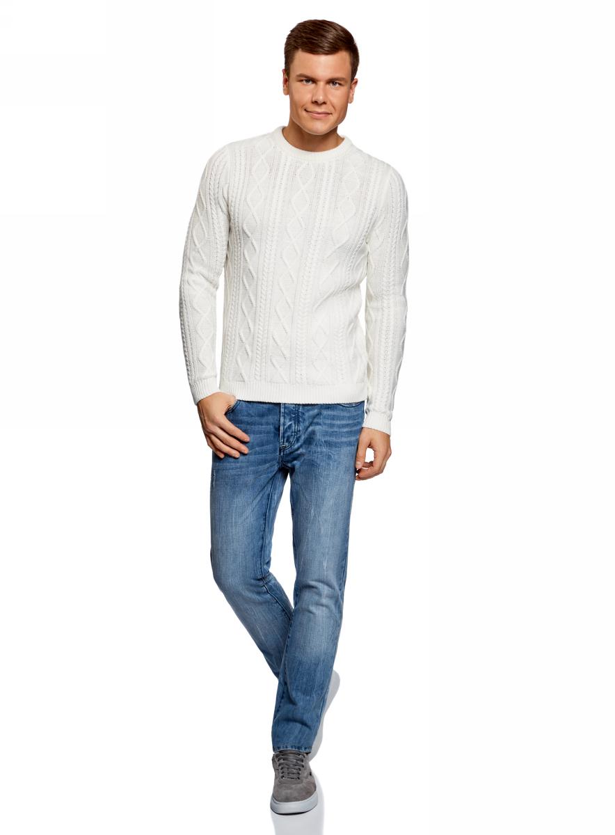 Джемпер мужской oodji Lab, цвет: белый. 4L105050M/47109N/1200N. Размер XL (56)4L105050M/47109N/1200N