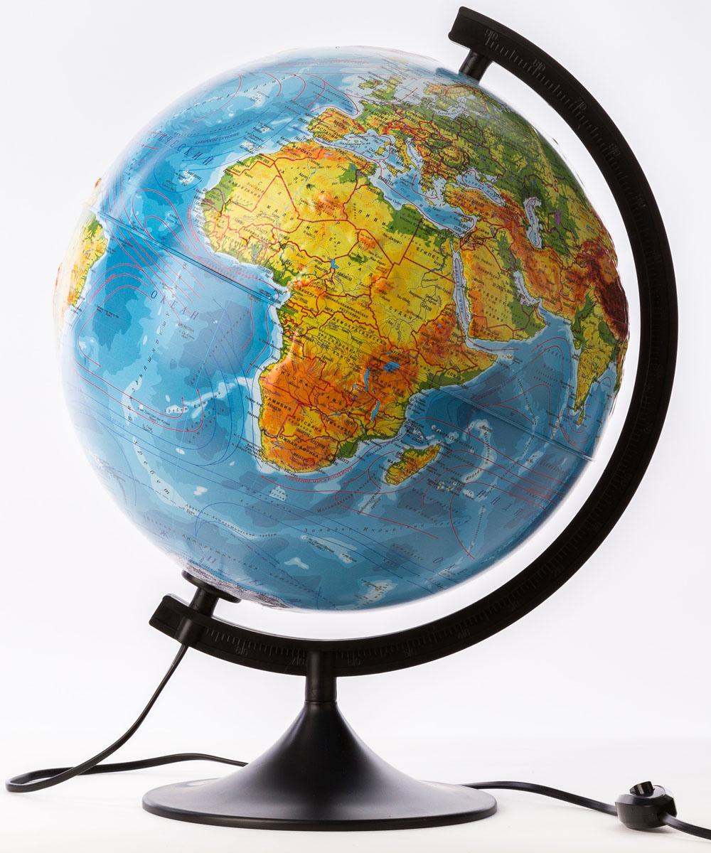 Globen Глобус Земли физико-политический с подсветкой рельефный 320 мм -  Глобусы