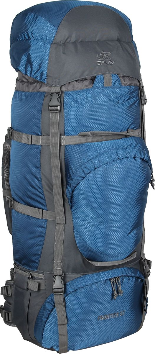 Рюкзак туристический Сплав Frontier 85, цвет: синий, 85 л5025360Функциональный рюкзак для походов и путешествий.Регулируемая подвесная система.Съемный пояс позволяет эффективно перераспределять нагрузку.Основной объем разделяется съемной перегородкой на молнии.Нижний вход.Дополнительный карман в клапане удобно использовать для накидки от дождя (в комплект не входит).Нижние боковые карманы для длинномерных грузов дополнительно фиксируются нижней боковой стяжкой.Удобный фронтальный карман обтекаемой формы. Объем: 85 лОсновное отделение: 80 х 36 х 24 смКарман верхнего клапана: 8 х 36 х 24 смВес: 2,2 кгИспользуемые ткани: Polyester 600D / 450DМолнии: SBSПластиковая фурнитура: Duraflex
