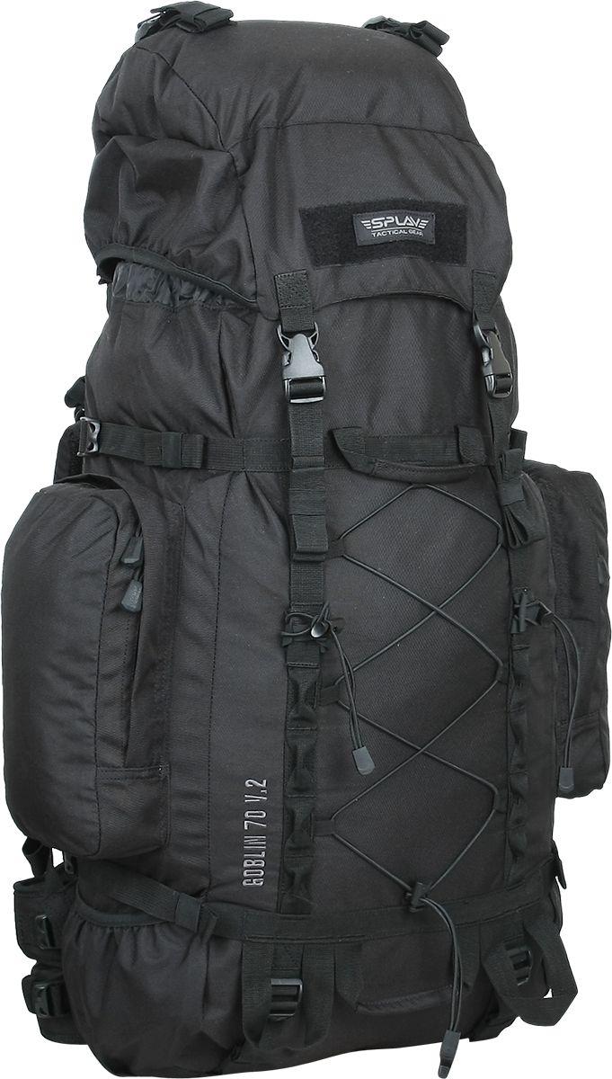 Рюкзак туристический Сплав Goblin 70, цвет: черный, 70 л5027440Среднеобъемный универсальный рюкзак.Съемные, регулируемые по высоте лямки. Большая ширина, анатомический силуэт. Два слоя пены и сетка Airmesh для мягкости и вентиляции. Верхние оттяжки. Ячейки PALS для крепления подсумков выполнены методом лазерной резки в усиленной ткани, что обеспечивает лямкам тонкий профиль и плоскую поверхность, не мешая прикладке оружия.Спинка рюкзака благодаря многослойной структуре имеет высокую жесткость и обеспечивает отличную вентиляцию. Внутри вертикальные карманы для съемных лат.Съемный широкий пояс. Боковые оттяжки.Съемный регулируемый по высоте клапан (объем 2,6 л), внешнее отделение на молнии, отделение для гермочехла и скрытое отделение под клапаном.Боковые карманы (по 2,3 л) на молнии.Нижние боковые карманы-упоры.Дополнительные точки крепления груза на дне и передней поверхности.Точки крепления скального оборудования.Четыре ручки для погрузки/переноски рюкзака. Объем: 70 лВес: 2,4 кгОсновное отделение: 35 х 80 х 22 смБоковой карман (2 шт): 18 х 29 х 6 смКарман на клапане: 28,5 х 21 х 8,5 смОсновная ткань: Polyester 600DФурнитура: Duraflex