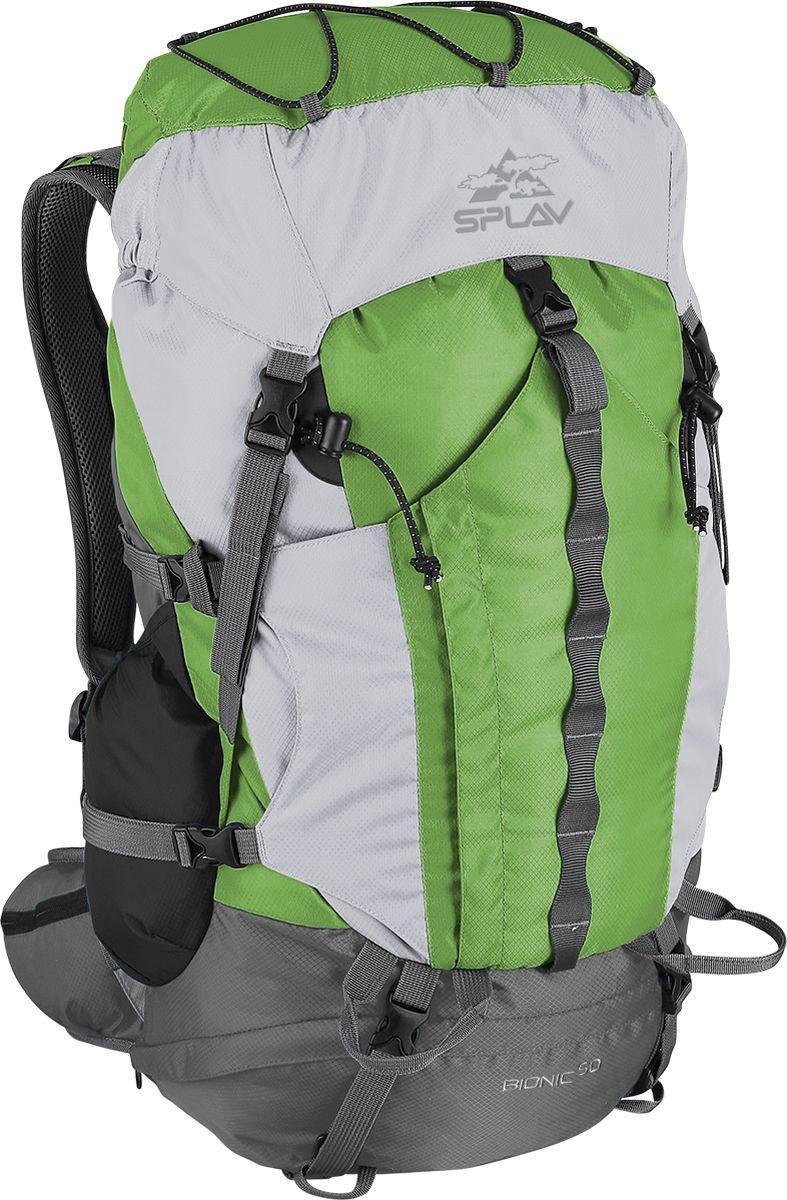 Рюкзак туристический Сплав Bionic 50, цвет: зеленый, 50 л5027650Облегчённый трекинговый рюкзак.Максимальная вентиляция достигается за счет профилированных уплотняющих накладок на спине, обтянутых плотной сеткой, а также использования в лямках и на поясе перфорированной уплотняющей пены с сеткой Air Mesh.Анатомическая спина формируемая плотной пеной и съемной латой.Рюкзак имеет жестко зафиксированный клапан с влагозащитной молнией,с внутренней стороны клапана имеется плоский кармашек из сетки для документов.Сверху клапана имеется эластичный шнур для фиксации легких вещей.Объёмный открытый фронтальный карман краб фиксируется боковыми стяжками и дополнительно верхней оттяжкой.Нижний вход фиксируется стяжками.Два боковых кармана.Анатомические лямки имеют регулируемую грудную стяжку.На поясе два кармашка для мелочей.В дне рюкзака карман со встроенной накидкой от дождя.Две точки для крепления скального или ледового инструмента.Дополнительный внутренний кармашек для документов или мелочей.Рюкзак совместим с питьевыми системами. Объем: 50 лВес: 1,5 кгОсновная ткань: Polyester Diamond 210D R/SПластиковая фурнитура: YKKЧто взять с собой в поход?. Статья OZON Гид