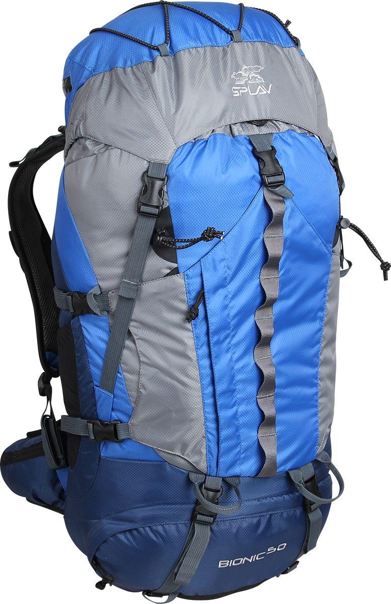 Рюкзак туристический Сплав Bionic 50, цвет: синий, 50 л5027660Облегчённый трекинговый рюкзак.Максимальная вентиляция достигается за счет профилированных уплотняющих накладок на спине, обтянутых плотной сеткой, а также использования в лямках и на поясе перфорированной уплотняющей пены с сеткой Air Mesh.Анатомическая спина формируемая плотной пеной и съемной латой.Рюкзак имеет жестко зафиксированный клапан с влагозащитной молнией,с внутренней стороны клапана имеется плоский кармашек из сетки для документов.Сверху клапана имеется эластичный шнур для фиксации легких вещей.Объёмный открытый фронтальный карман краб фиксируется боковыми стяжками и дополнительно верхней оттяжкой.Нижний вход фиксируется стяжками.Два боковых кармана.Анатомические лямки имеют регулируемую грудную стяжку.На поясе два кармашка для мелочей.В дне рюкзака карман со встроенной накидкой от дождя.Две точки для крепления скального или ледового инструмента.Дополнительный внутренний кармашек для документов или мелочей.Рюкзак совместим с питьевыми системами. Объем: 50 лВес: 1,5 кгОсновная ткань: Polyester Diamond 210D R/SПластиковая фурнитура: YKK