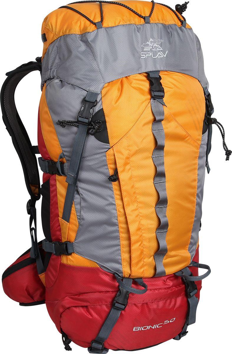 Рюкзак туристический Сплав Bionic 50, цвет: оранжевый, 50 л5027675Облегчённый трекинговый рюкзак. Максимальная вентиляция достигается за счет профилированных уплотняющих накладок на спине, обтянутых плотной сеткой, а также использования в лямках и на поясе перфорированной уплотняющей пены с сеткой Air Mesh. Анатомическая спина формируемая плотной пеной и съемной латой. Рюкзак имеет жестко зафиксированный клапан с влагозащитной молнией,с внутренней стороны клапана имеется плоский кармашек из сетки для документов. Сверху клапана имеется эластичный шнур для фиксации легких вещей. Объёмный открытый фронтальный карман краб фиксируется боковыми стяжками и дополнительно верхней оттяжкой. Нижний вход фиксируется стяжками. Два боковых кармана. Анатомические лямки имеют регулируемую грудную стяжку. На поясе два кармашка для мелочей. В дне рюкзака карман со встроенной накидкой от дождя. Две точки для крепления скального или ледового инструмента. Дополнительный внутренний кармашек для документов или мелочей. Рюкзак совместим с питьевыми системами.Объем: 50 л Вес: 1,5 кг Основная ткань: Polyester Diamond 210D R/S Пластиковая фурнитура: YKKЧто взять с собой в поход?. Статья OZON Гид