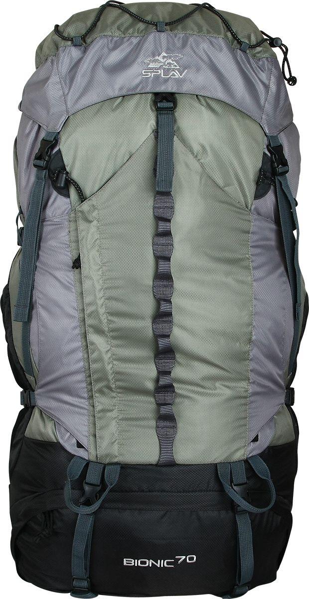 Рюкзак туристический Сплав Bionic 70, цвет: зеленый, серый5029059Облегчённый трекинговый рюкзакМаксимальная вентиляция достигается за счет профилированных уплотняющих накладок на спине, обтянутых плотной сеткой, а также использования в лямках и на поясе перфорированной уплотняющей пены с сеткой Air MeshАнатомическая спина формируемая плотной пенойи съемной латойРюкзак имеет жестко зафиксированный клапан с влагозащитной молнией. с внутренней стороны клапана имеется плоский кармашек из сетки для документовСверху клапана имеется эластичный шнур для фиксации легких вещейОбъёмный открытый фронтальный карман «краб» фиксируется боковыми стяжками и дополнительно верхней оттяжкойНижний вход фиксируется стяжкамиДва боковых карманаАнатомические лямки имеют регулируемую грудную стяжкуНа поясе два кармашка для мелочейВ дне рюкзака карман со встроенной накидкой от дождяДве точки для крепления скального или ледового инструментаДополнительный внутренний кармашек для документов или мелочейВозможна установка питьевой системы (в комплект не входит!) Объем: 70 лВес: 1,7 кгГабариты (Ш?Т?В): 33?23?90 смОсновная ткань: Polyester Diamond 210D R/SПластиковая фурнитура: YKK