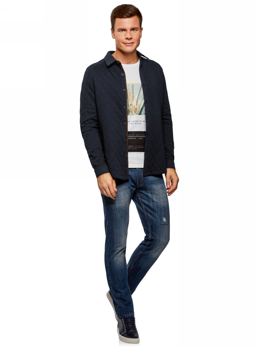 Рубашка мужская oodji Lab, цвет: темно-синий. 5L902005M/47164N/7900N. Размер L (52/54) футболка мужская oodji lab цвет темно синий 5l611395m 47601n 7912p размер l 52 54