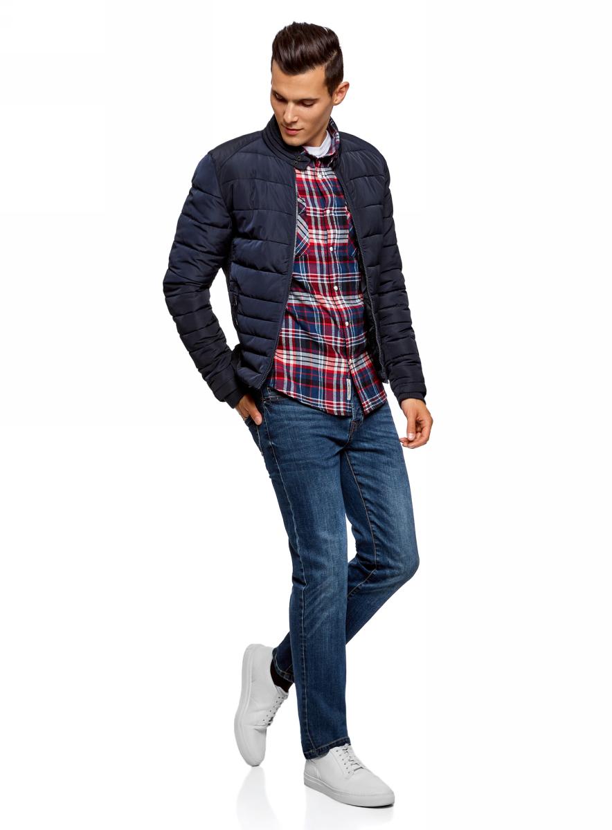 Куртка мужская oodji Lab, цвет: темно-синий. 1L111025M/44330N/7900N. Размер M (50-182)1L111025M/44330N/7900NСтильная мужская куртка oodji Lab изготовлена из высококачественного полиэстера. В качестве утеплителя используется полиэстер. Стеганая модель с воротником-стойкой застегивается на застежку-молнию и дополнительно на небольшой ремешок в области воротника. Спереди расположены два втачных кармана на застежках-молниях.