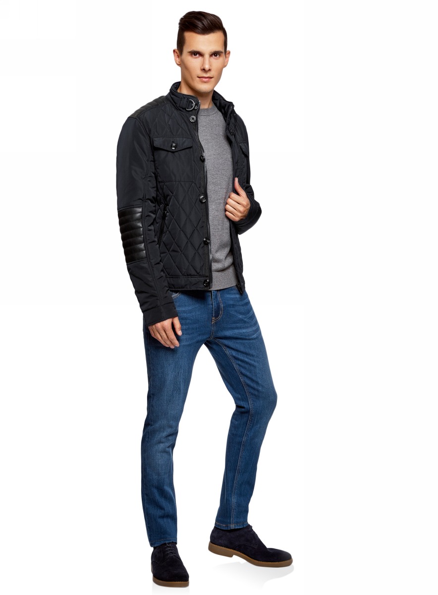 Куртка утепленная мужская oodji Lab, цвет: темно-синий. 1L111026M/44330N/7929B. Размер XL (56-182)1L111026M/44330N/7929B