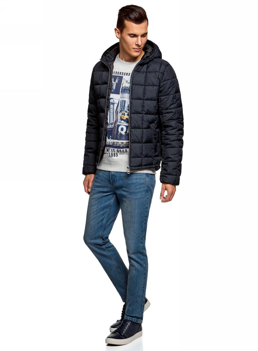 Куртка мужская oodji Lab, цвет: темно-синий. 1L112025M/33743/7900N. Размер XXL (58/60-182) футболка мужская oodji lab цвет светло серый 5l611378m 25244n 2075p размер xxl 58 60