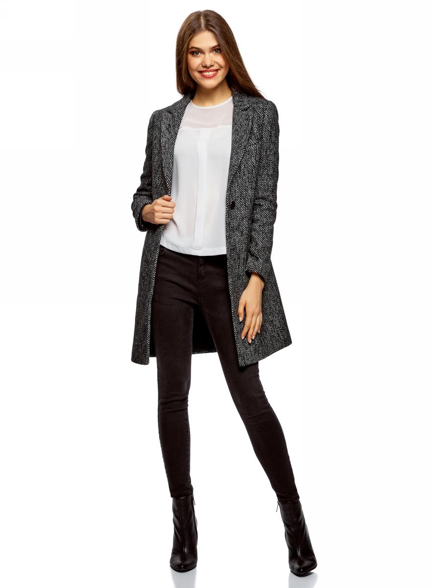 Пальто женское oodji Ultra, цвет: черный. 10103019-4/46968/2912O. Размер 38 (44-170)10103019-4/46968/2912O