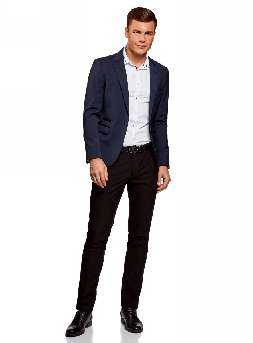 Пиджак мужской oodji Lab, цвет: темно-синий. 2L410201M/47076N/7900O. Размер 48-182 пиджак мужской oodji lab цвет темно синий 2l410201m 47076n 7900o размер 48 182