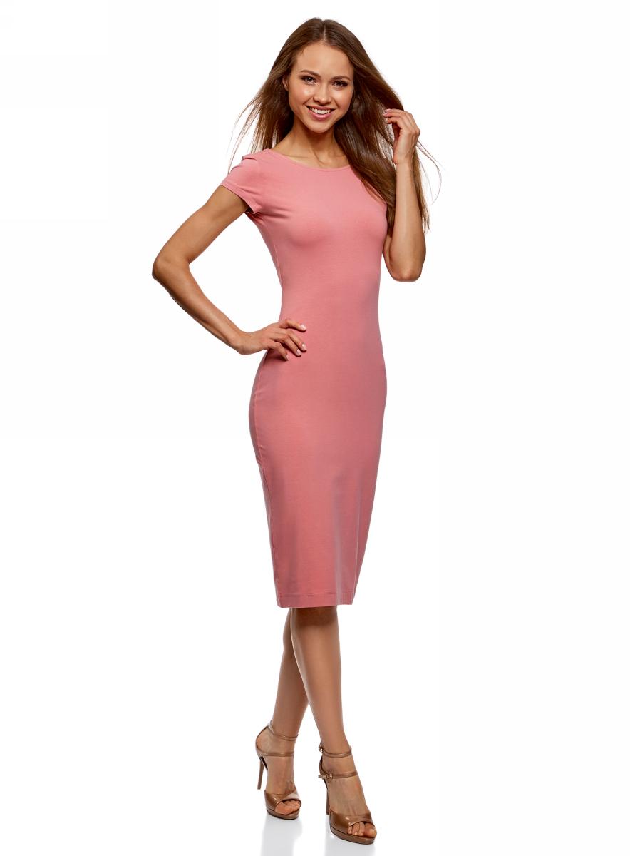 Платье oodji Collection, цвет: розовый. 24001104-5B/47420/4B00N. Размер M (46)24001104-5B/47420/4B00NСтильное платье oodji изготовлено из качественного материала на основе хлопка. Облегающая модель с круглой горловиной и короткими рукавами. Спинка выполнена с глубоким круглым вырезом.