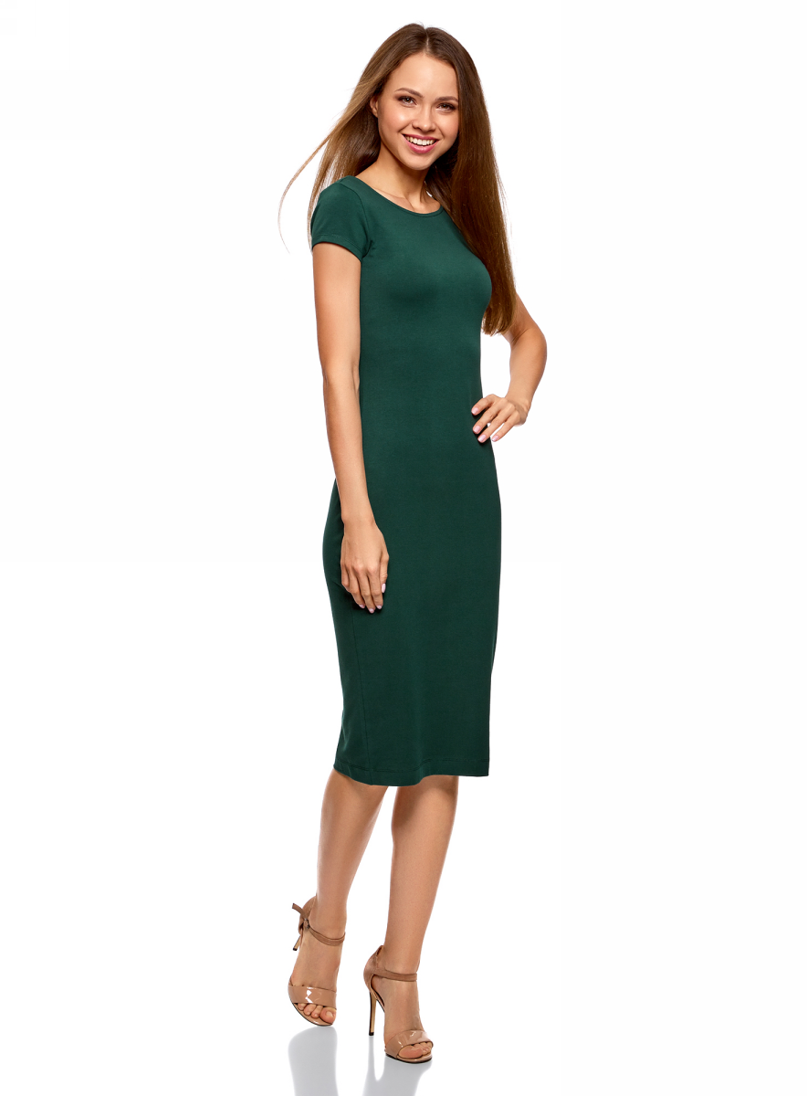 Платье oodji Collection, цвет: темно-зеленый. 24001104-5B/47420/6900N. Размер S (44)24001104-5B/47420/6900NСтильное платье oodji изготовлено из качественного материала на основе хлопка. Облегающая модель с круглой горловиной и короткими рукавами. Спинка выполнена с глубоким круглым вырезом.