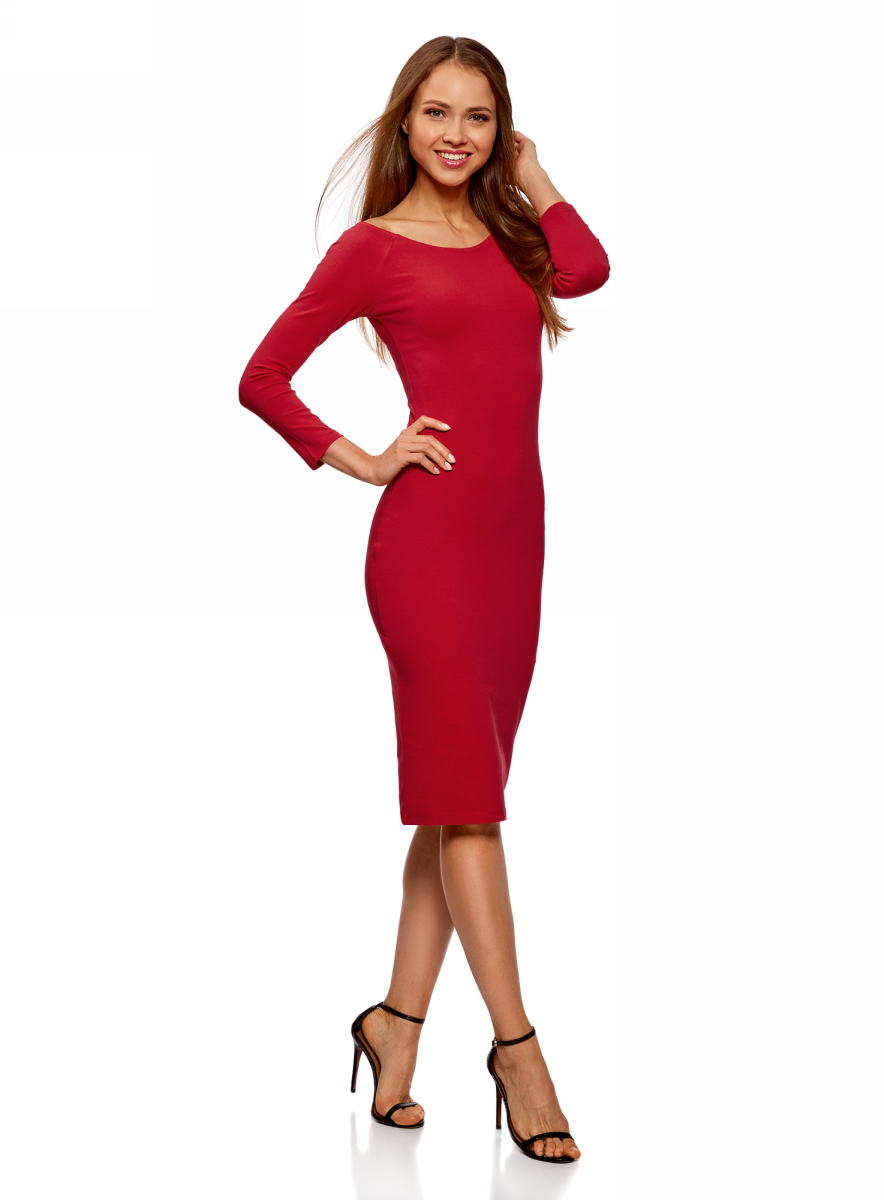 Платье oodji Ultra, цвет: красный. 14017001-6B/47420/4500N. Размер M (46)14017001-6B/47420/4500NИзящное трикотажное платье облегающего силуэта с длинными рукавами выполнено из полиэстера с добавлением эластана. Платье эффектно сидит и отлично смотрится.