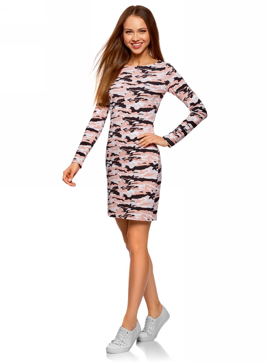Платье oodji Ultra, цвет: розовый. 14001183-2/47420/5429O. Размер XL (50)14001183-2/47420/5429OЭлегантное трикотажное платье облегающего силуэта, с вырезом-лодочкой и длинными рукавами. Простота и тщательно продуманный крой являются главным достоинством этой модели. Платье сдержанного дизайна, без украшений и сложных элементов, смотрится стильно. Трикотаж приятен для тела, тянется и комфортен в ношении.