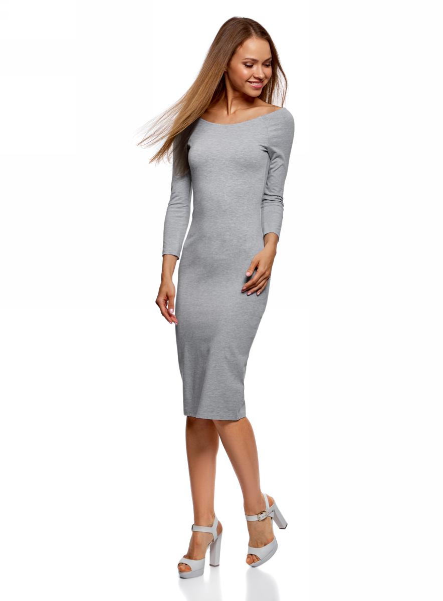 Платье oodji Ultra, цвет: серый. 14017001-6B/47420/2000M. Размер M (46)14017001-6B/47420/2000MИзящное трикотажное платье облегающего силуэта с длинными рукавами выполнено из полиэстера с добавлением эластана. Платье эффектно сидит и отлично смотрится.