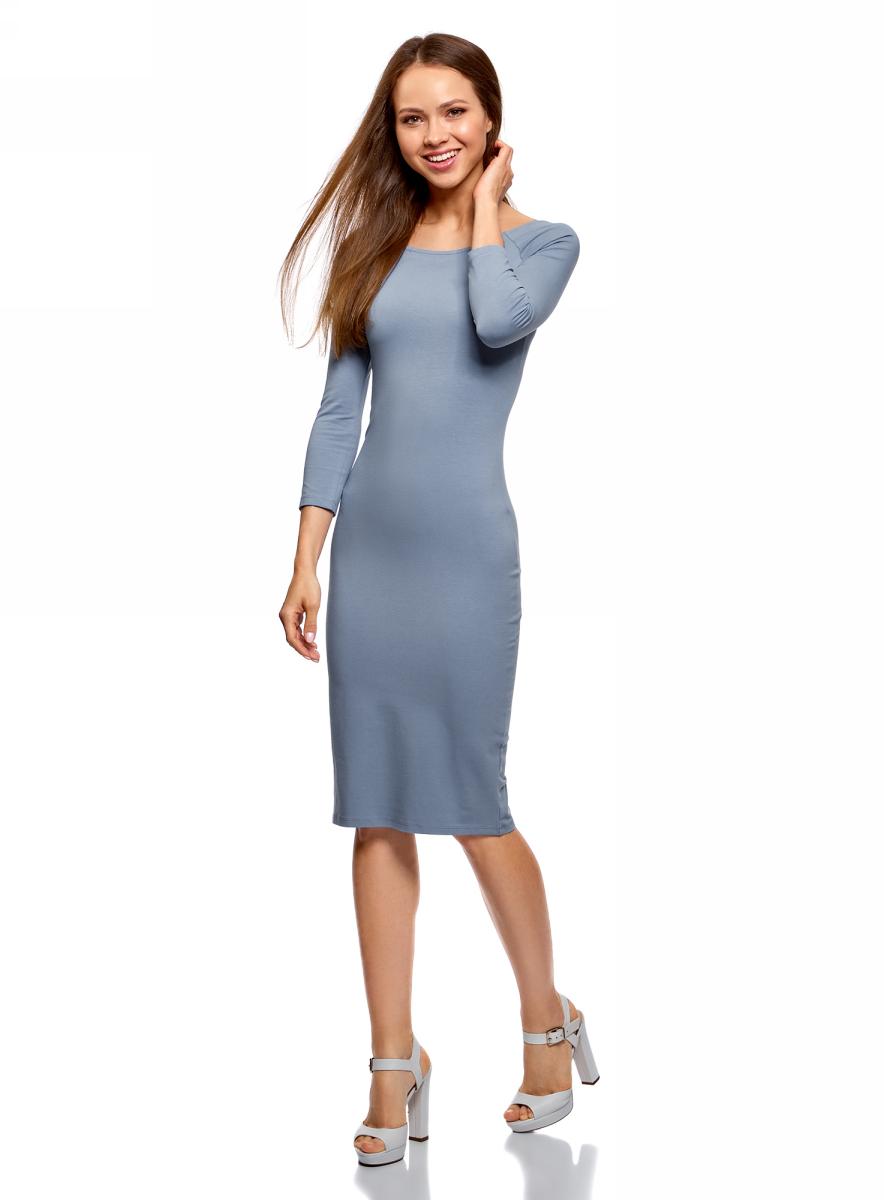Платье oodji Ultra, цвет: серо-голубой. 14017001-6B/47420/7501N. Размер L (48) платье oodji ultra цвет карамель 14017001 6b 47420 4b00n размер xl 50