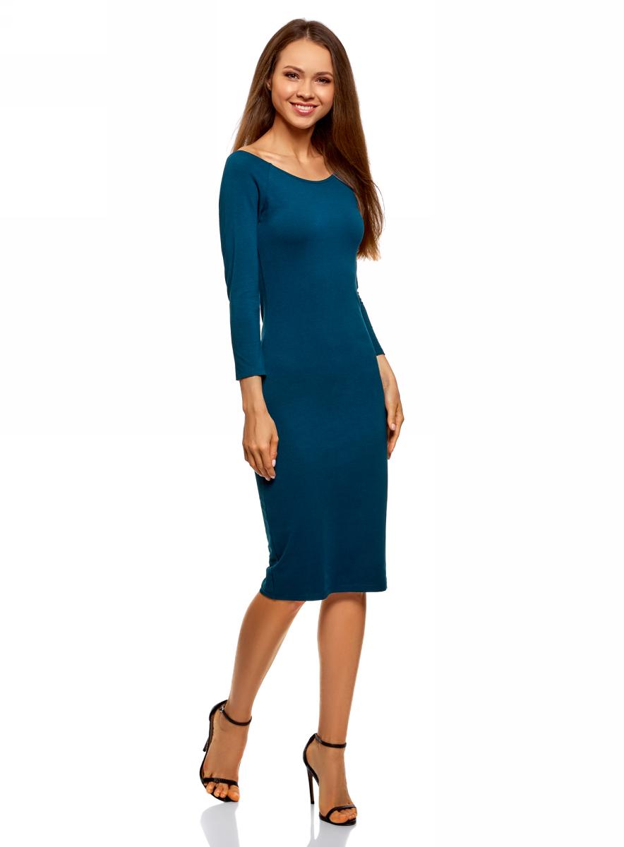 Платье oodji Ultra, цвет: темно-синий. 14017001-6B/47420/7901N. Размер M (46)14017001-6B/47420/7901NИзящное трикотажное платье облегающего силуэта с длинными рукавами выполнено из полиэстера с добавлением эластана. Платье эффектно сидит и отлично смотрится.