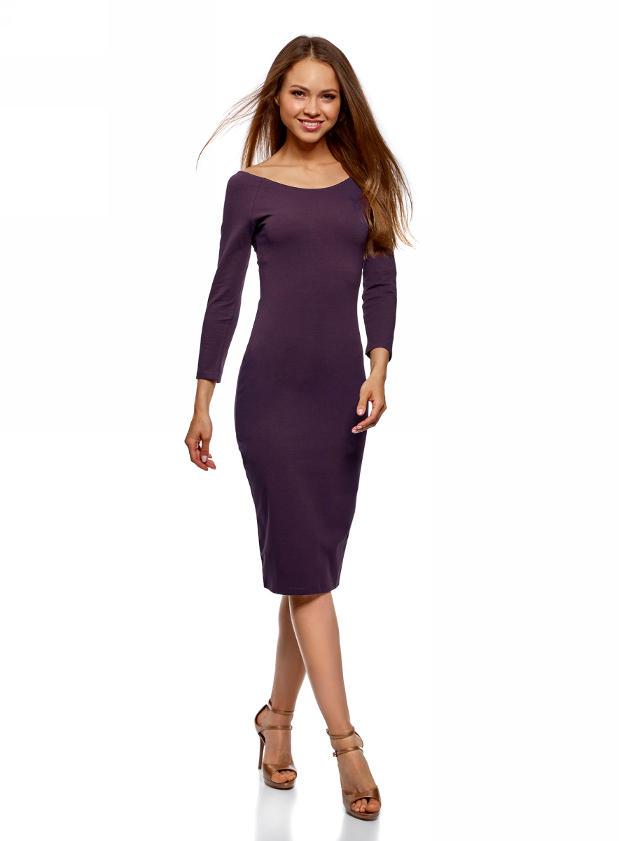 Платье oodji Ultra, цвет: фиолетовый. 14017001-6B/47420/8801N. Размер XL (50)14017001-6B/47420/8801NИзящное трикотажное платье облегающего силуэта с длинными рукавами выполнено из полиэстера с добавлением эластана. Платье эффектно сидит и отлично смотрится.