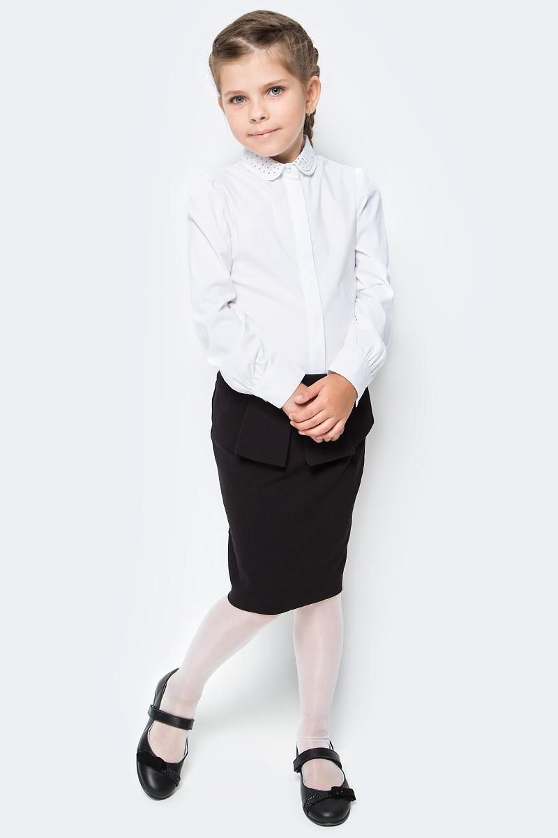 Блузка для девочки Overmoon by Acoola Irena, цвет: белый. 21200260006_200. Размер 14021200260006_200Блузка Overmoon из хлопкового поплина декорирована двойным отложным воротником со стразами. Модель с длинными рукавами с манжетами на пуговицах и планкой с потайной застежкой на пуговицы спереди.