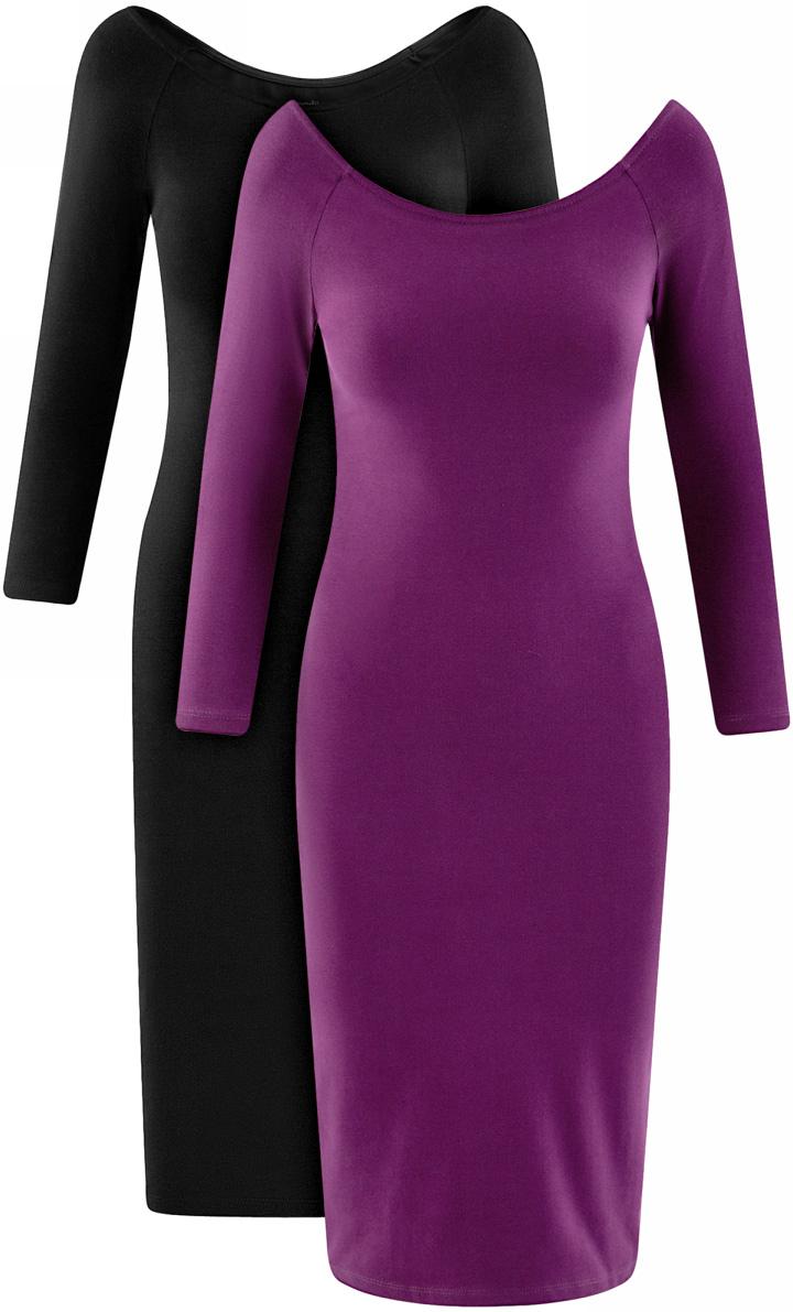 Платье oodji Ultra, цвет: черный, сиреневый, 2 шт. 14017001T2/47420/19KUN. Размер S (44)14017001T2/47420/19KUNСтильное платье oodji изготовлено из качественного смесового материала. Облегающая модель с горловиной-лодочкой и рукавами 3/4. В наборе 2 платья.