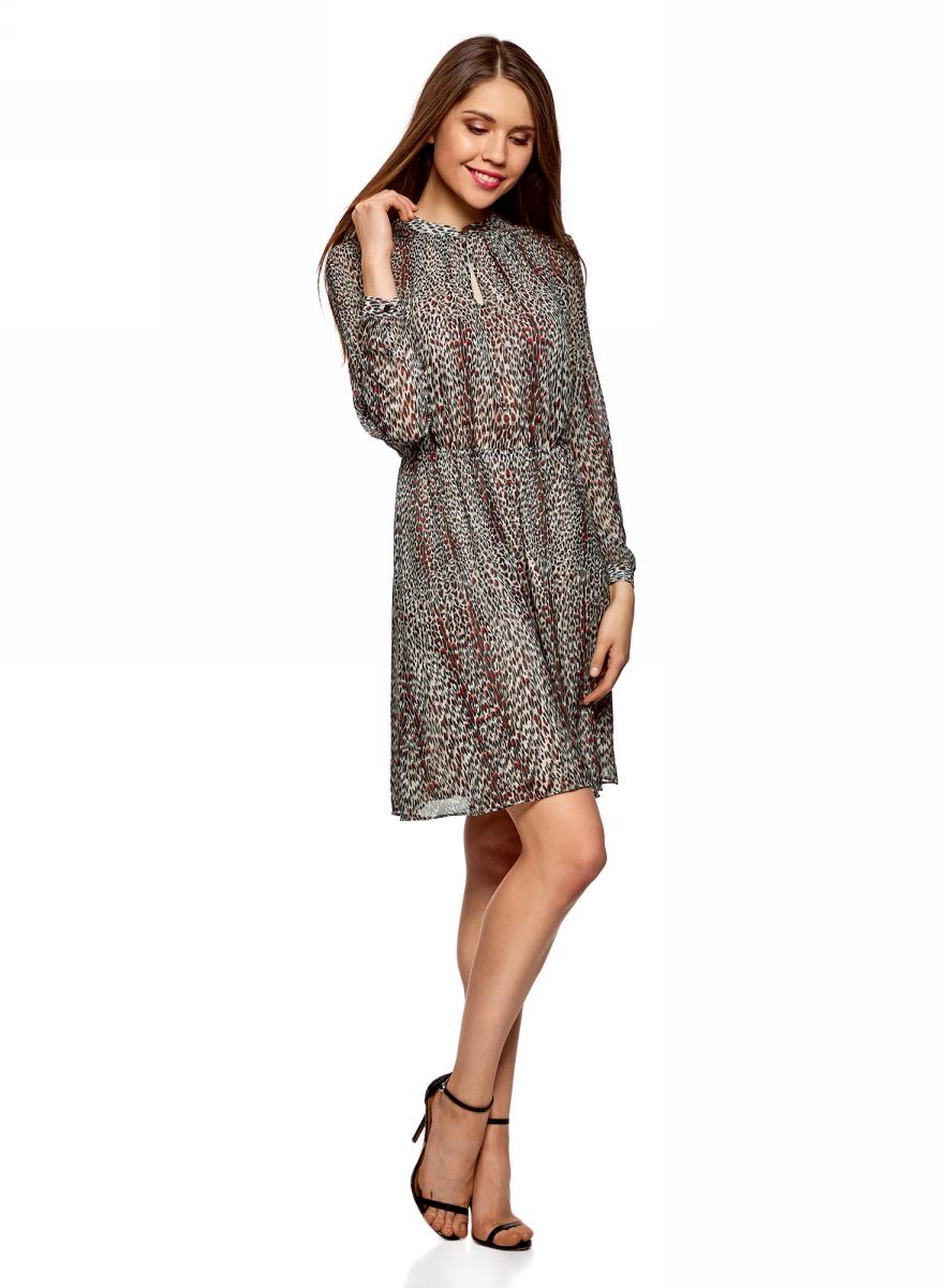 Платье oodji Ultra, цвет: бежевый. 11913047/45773/3345A. Размер 38 (44-164)11913047/45773/3345AПлатье от oodji выполнено из струящейся ткани. Модель с длинными рукавами и вырезом-капелькой на груди застегивается на пуговицу.