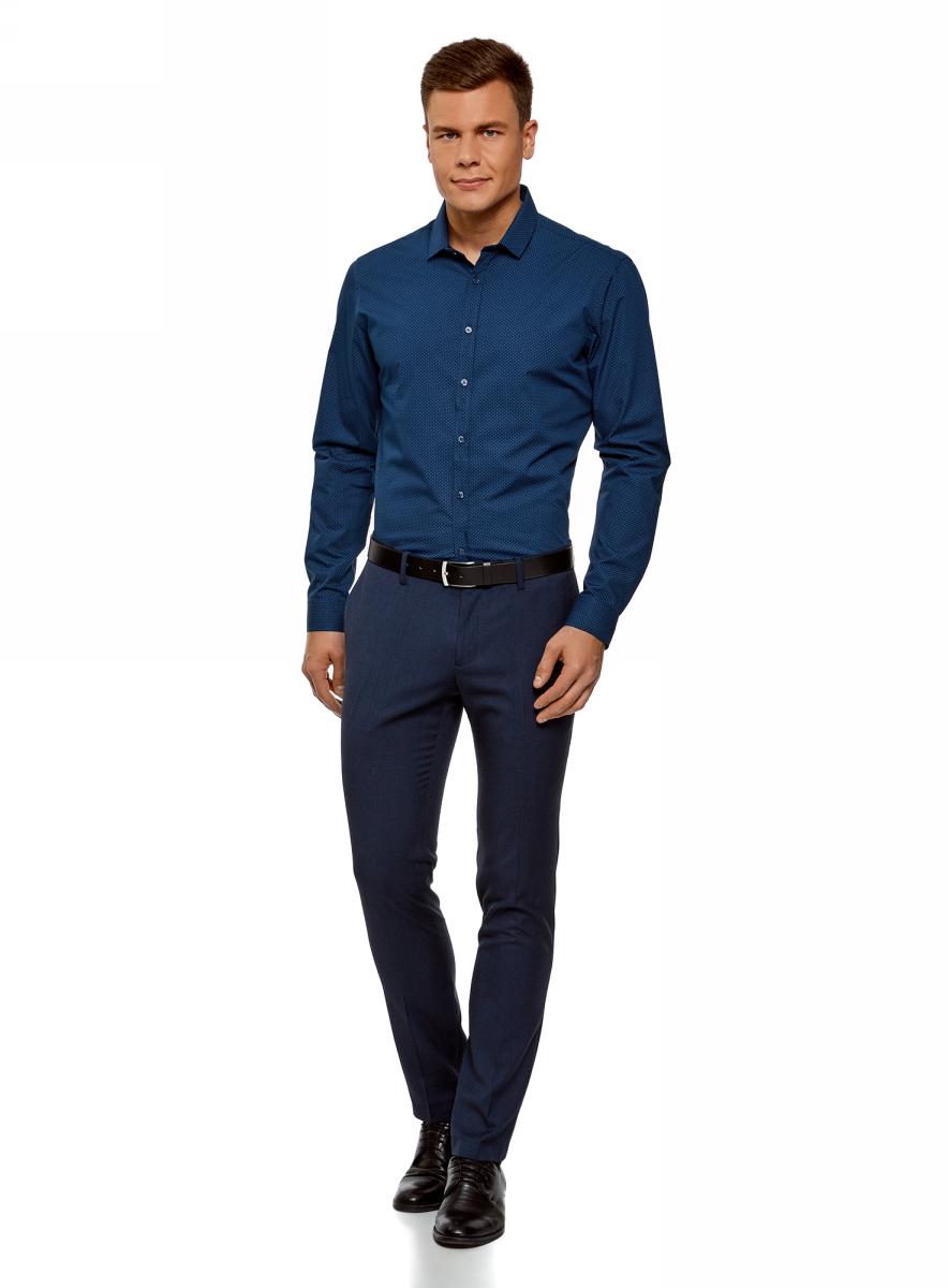 Рубашка мужская oodji Basic, цвет: темно-синий. 3B110016M/19370N/7975D. Размер 42 (52-182)3B110016M/19370N/7975DМужская рубашка oodji выполнена из натурального хлопка. Модель с длинными рукавами застегивается на пуговицы.