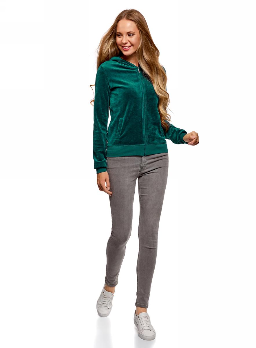 Толстовка женская oodji Ultra, цвет: зеленый. 16901082B/47883/6C00N. Размер L (48)16901082B/47883/6C00N