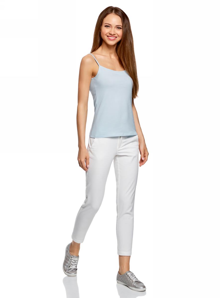 Майка женская oodji Ultra, цвет: голубой. 14305023-1B/46147/7000N. Размер XXS (40) t shirt iceboys поло с коротким рукавом